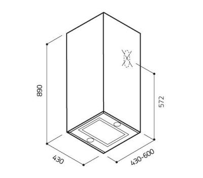 Okap przyścienny ELICA KUADRA IX/A/43 rysunek techniczny