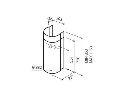 Okap przyścienny ELICA STONE IX/A/33 rysunek techniczny