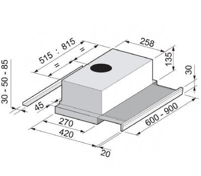 Okap teleskopowy FALMEC SLIM 60 X PLUS EVO rysunek techniczny