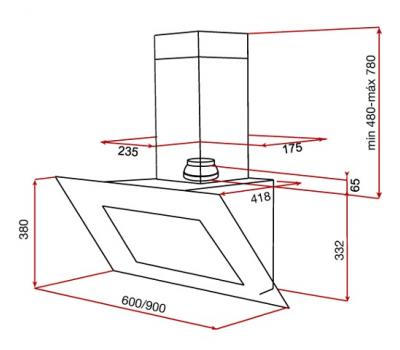 Okap przyścienny TEKA DVT 950 BLACK rysunek techniczny