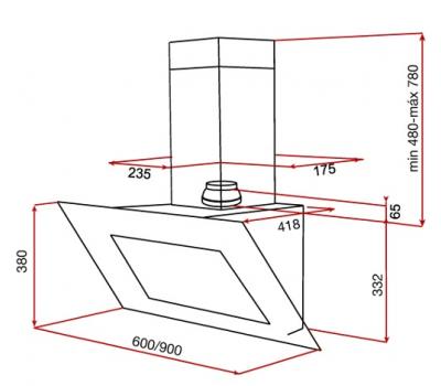 Okap przyścienny TEKA DVT 950 WHITE rysunek techniczny