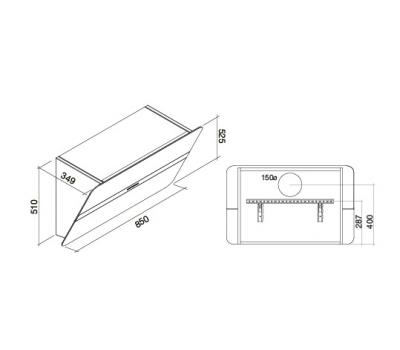 Okap przyścienny FALMEC FLIPPER DESIGN BIAŁY 85 rysunek techniczny