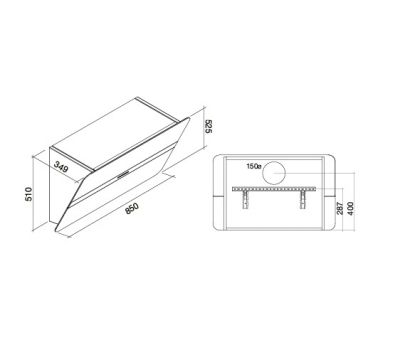 Okap przyścienny FALMEC FLIPPER DESIGN SZARY rysunek techniczny