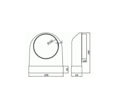 Kolanko płaskie poziome łącznikowe Domus 204x60 mm kod 640 rysunek techniczny