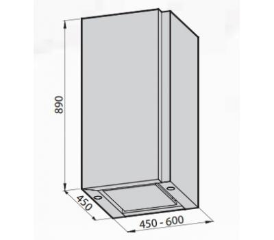 Okap przyścienny GALVAMET Frame 45 rysunek techniczny
