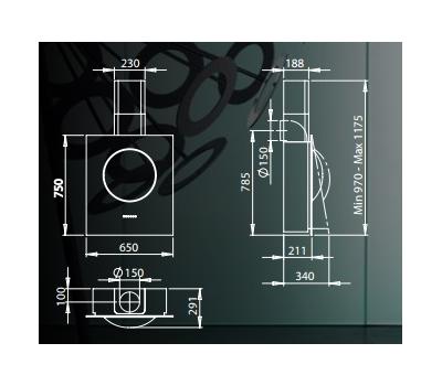 Okap przyścienny GALVAMET Sphera czarna rysunek techniczny