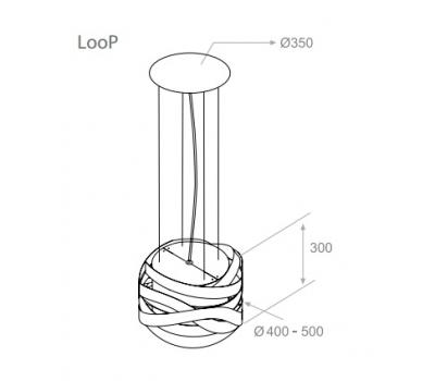 Okap wyspowy PANDO I-470 LooP rysunek techniczny