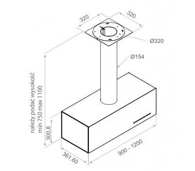 Okap wyspowy PANDO I-437 90 cm rysunek techniczny