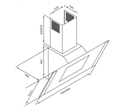 Okap przyścienny KERNAU KCH 2161 W rysunek techniczny