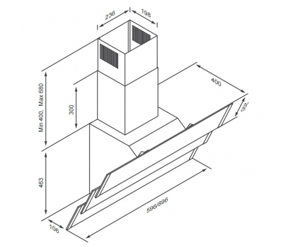 Okap przyścienny KERNAU KCH 2291 B rysunek techniczny