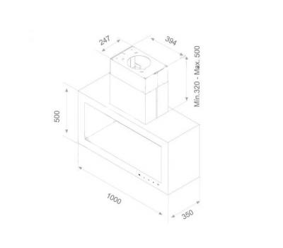 Okap wyspowy PANDO I-960 rysunek techniczny