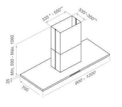 Okap wyspowy PANDO I-402 120 cm rysunek techniczny