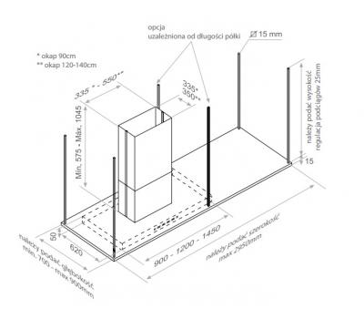 Okap wyspowy PANDO I-895 120 cm rysunek techniczny