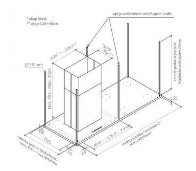 Okap wyspowy PANDO I-896 140 cm rysunek techniczny