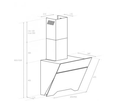 Okap przyścienny BERG Glossy 90 rysunek techniczny