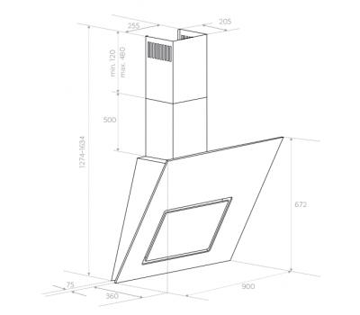 Okap przyścienny BERG Dark 90 rysunek techniczny