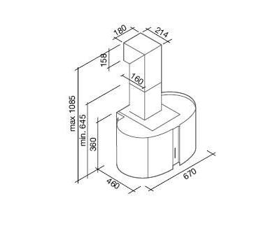 Okap przyścienny FALMEC MOONLIGHT 67 LED rysunek techniczny