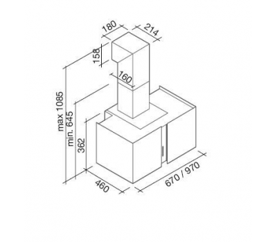 Okap przyścienny FALMEC PLATINUM 67 LED rysunek techniczny