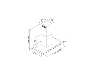 Okap wyspowy FALMEC LUMEN ISOLA 90 800m3/h rysunek techniczny