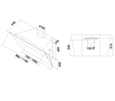 Okap przyścienny FALMEC PRISMA 115 biały rysunek techniczny