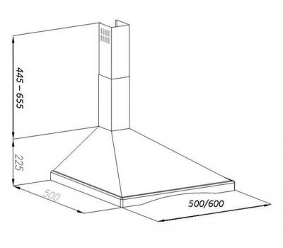 Okap przyścienny VDB Inka D 50 Niebarwiony rysunek techniczny