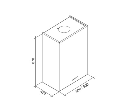 Okap przyścienny FALMEC LAGUNA 90 WHITE rysunek techniczny