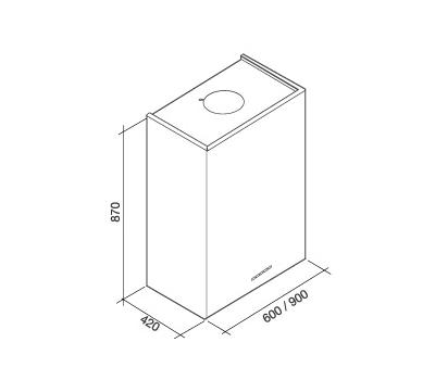 Okap przyścienny FALMEC LAGUNA 90 BLACK rysunek techniczny