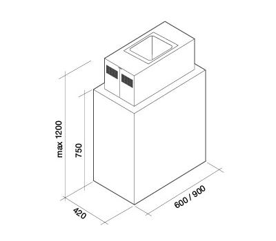 Okap wyspowy FALMEC LAGUNA 60 ISOLA BLACK rysunek techniczny