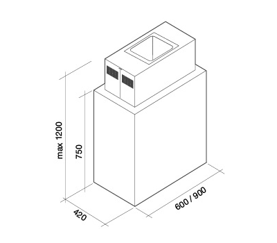 Okap wyspowy FALMEC LAGUNA 90 ISOLA BLACK rysunek techniczny