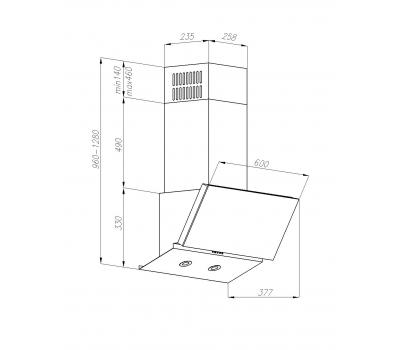 Okap przyścienny VDB Creo 60 Fiore rysunek techniczny