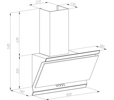 Okap przyścienny VDB Deco Stone 60 czarny rysunek techniczny