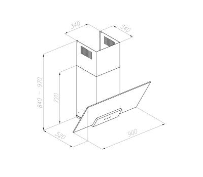 Okap przyścienny VDB Wetro 90 rysunek techniczny