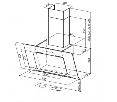 Okap przyścienny FABER INFINITY ACT 80 White rysunek techniczny