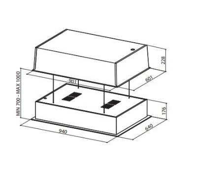 Okap sufitowy FABER SKYLIFT rysunek techniczny
