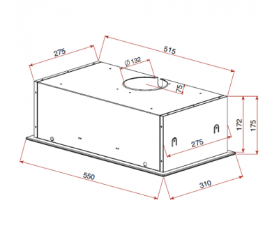 Okap do zabudowy Teka GFG2 Glass White rysunek techniczny