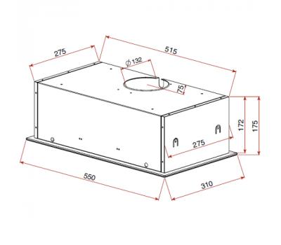 Okap do zabudowy Teka GFG2 Glass Black rysunek techniczny