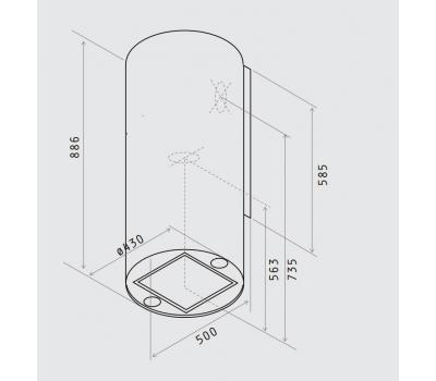 Okap przyścienny Elica  Tube Pro WH/A/43 Biały rysunek techniczny