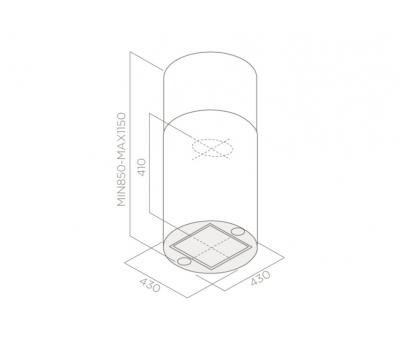 Okap wyspowy ELICA Tube Pro Island WH/A/43 White rysunek techniczny