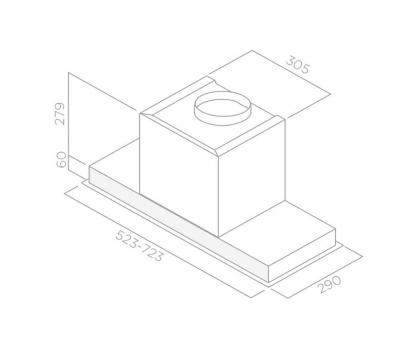Okap do zabudowy ELICA Hidden IXGL/A/60 rysunek techniczny