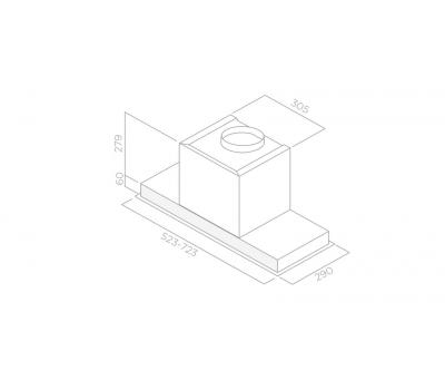 Okap do zabudowy ELICA Hidden IXGL/A/90 rysunek techniczny