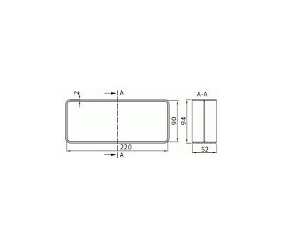 Łącznik kanałów płaskich DOMUS 22x9 cm kod 920 rysunek techniczny