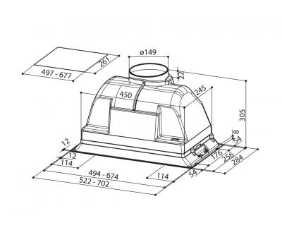Okap do zabudowy FABER INCA PLUS HCS 70 rysunek techniczny
