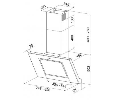 Okap przyścienny GLOBALO Lagardio 90.2 White Eko Max rysunek techniczny