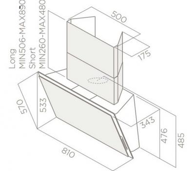 Okap przyścienny ELICA Elle WH/F/80 biały rysunek techniczny