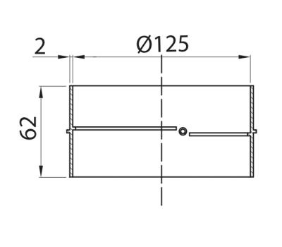 Łącznik kanałów okrągłych DOMUS fi 12,5 cm kod 593 rysunek techniczny