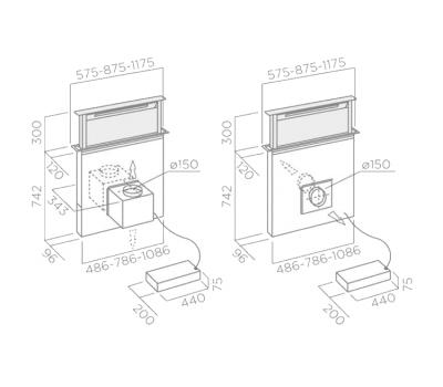 Okap blatowy ELICA ADAGIO GME BL/A/90 rysunek techniczny