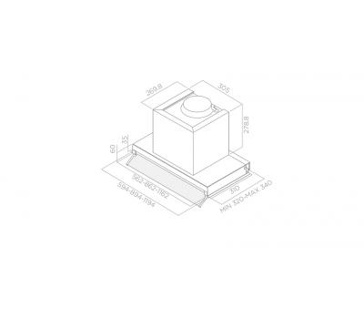 Okap do zabudowy ELICA Box In Plus IXGL/A/60 rysunek techniczny