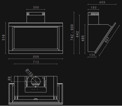 Okap przyścienny NORTBERG Plaza 90 czarny rysunek techniczny