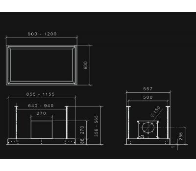 Okap sufitowy NORTBERG Platinum 90 rysunek techniczny