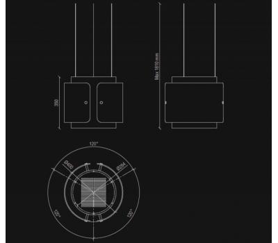 Okap wyspowy NORTBERG Diamond rysunek techniczny